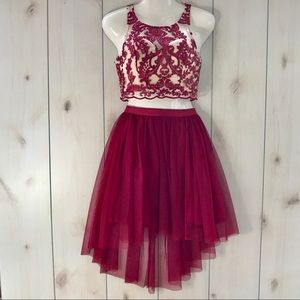 Maroon & Nude 2 Piece Formal Outfit Dress Sz 1